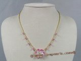 ZN027 Hand-wired pink layer flower zircon& glass beads necklace