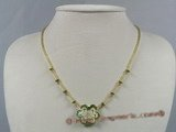ZN029 handcraft green layer flower zircon& glass beads necklace