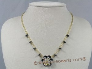 ZN031 handcraft layer flower purple zircon& glass beads necklace