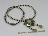 ZN036 Black cubic crystals necklace with green zircon flower pendant