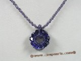 ZN041 Purple Faceted chinese crystals necklace with zircon flower pendant