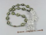 ZN049 Cultured seed pearl& shell necklace with white layer flower zircon pendant