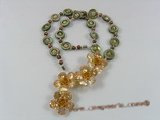 ZN050 Cultured seed pearl zircon necklace with layer flower pendant