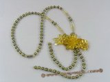 ZN053 Olive potato seed pearl& yellow layer flower zircon necklace