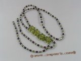 ZN061 Purple&olive green potato pearl layer flower zircon necklace on sale